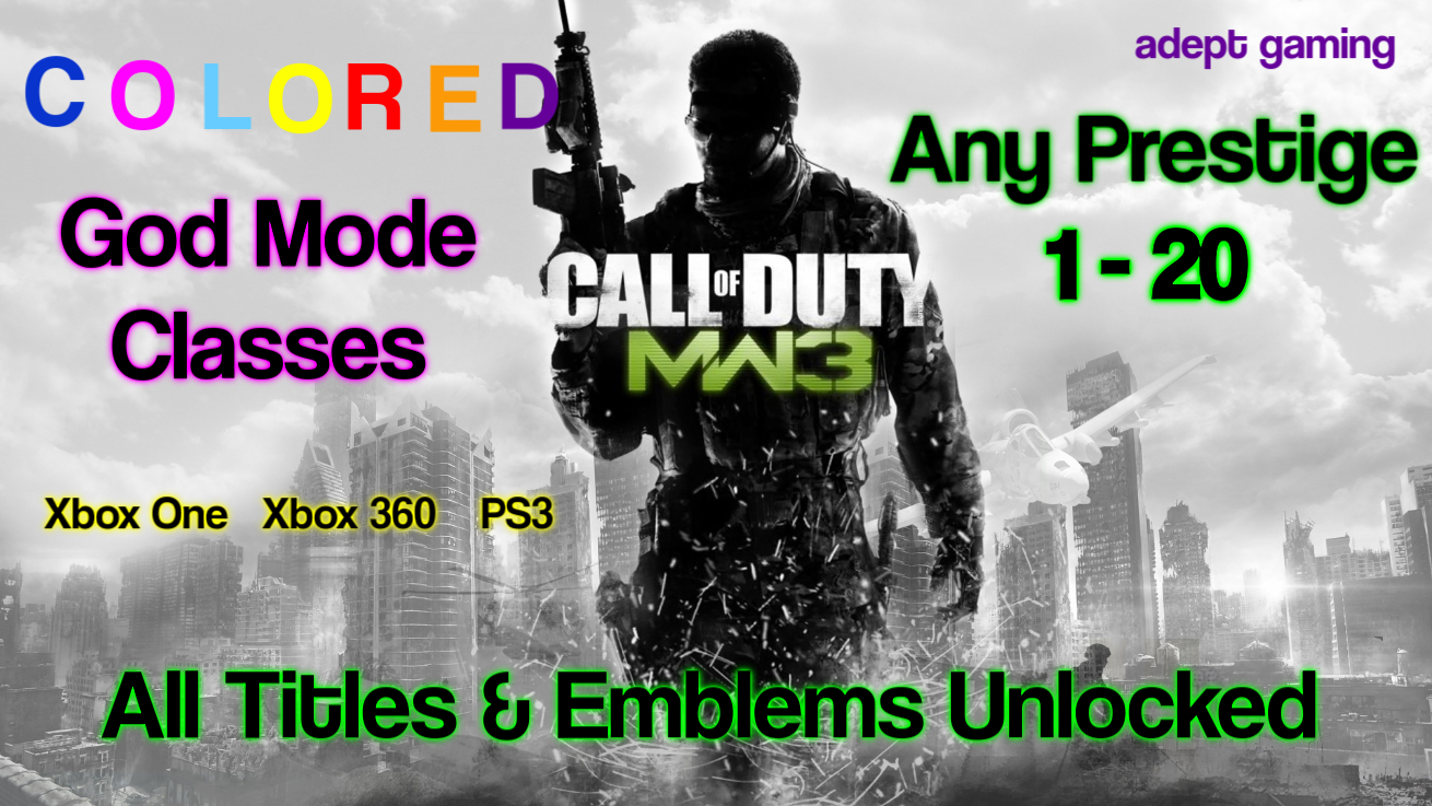 Call Of Duty Modern Warfare 3 Max Prestige God Mode Package Adept Gaming