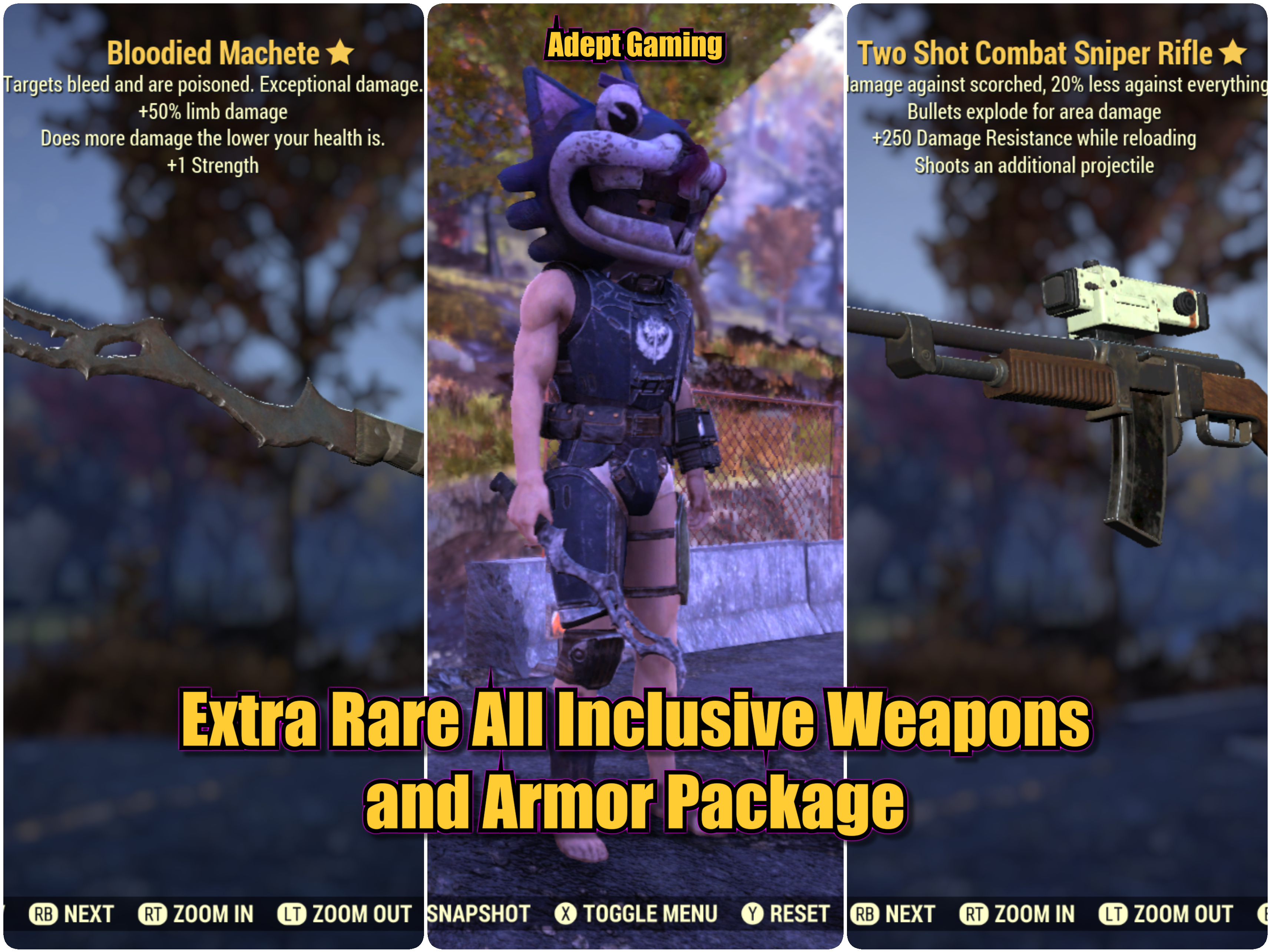 Fallout 76 Xbox One Extra Rare All Inclusive Weapons and Armor Package  *Adept*