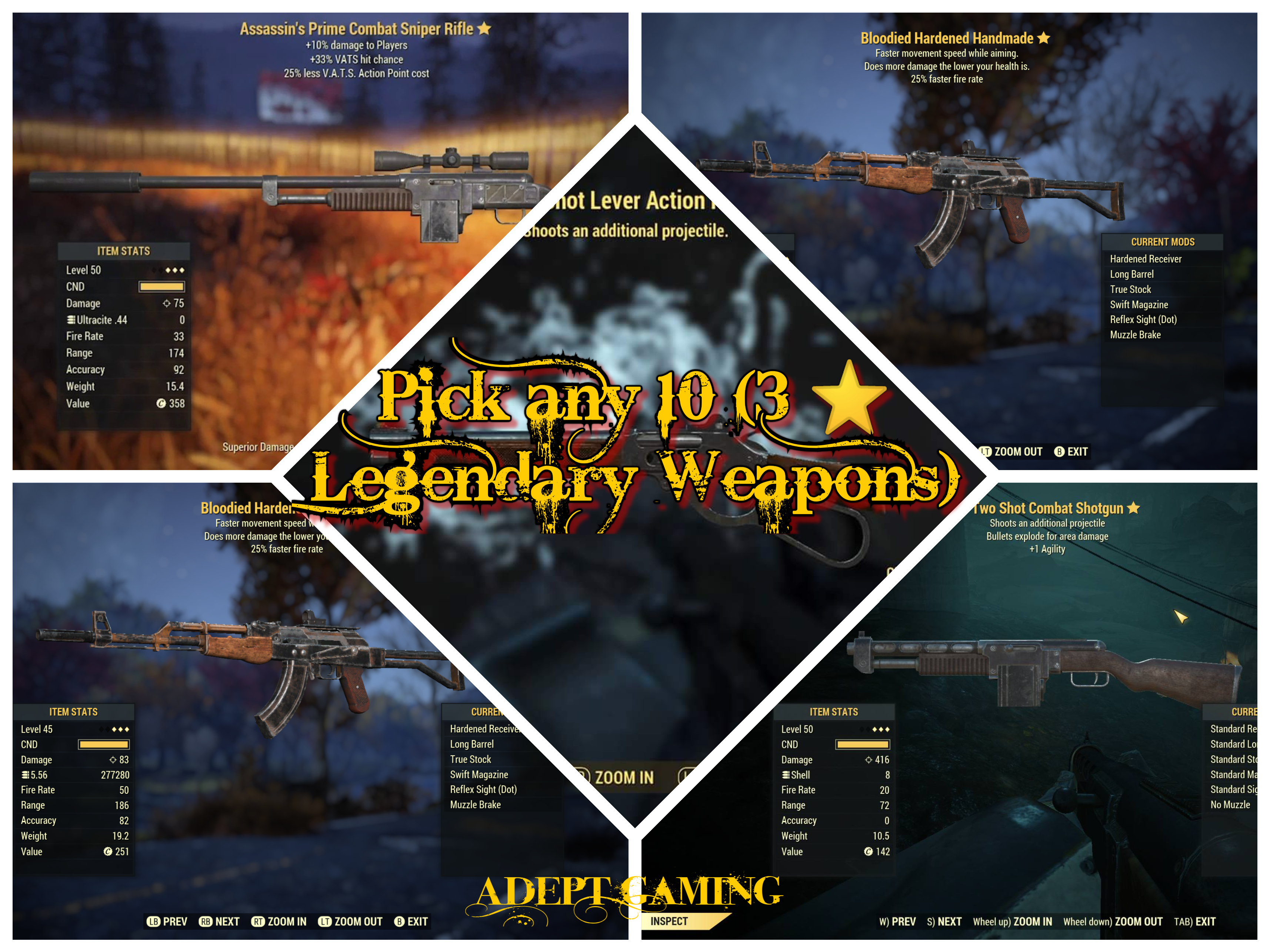 Fallout 76 Xbox One Pick any 10 (3 ⭐ Legendary Weapons) Package *Adept  Gaming*
